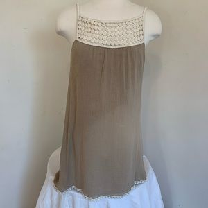 Tan Dress with Cream Crochet Detailing